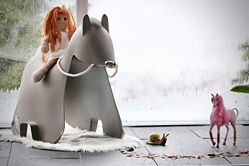Skools - Kinderstuhl, Tierhocker, Kinderstuhl Tiermotiv, für Haus und Garten, pflegeleicht, abwaschbar, Kinderhocker Tiere (Pferd, grau)