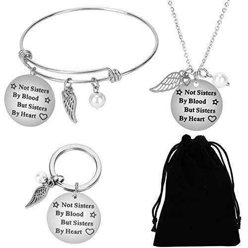 Qpout 4pack, Not Sisters by Blood but Sisters by Heart Bracelet Bangle Necklace Pendant Keychains for Women Teen Girls, Birthday Graduation Christmas New Year Gifts for Friends