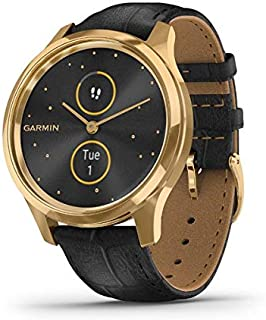 Garmin vívomove Luxe, Hybrid Smartwatch with Real Watch Hands and Hidden Color Touchscreen Displays, Gold with Black Leath...
