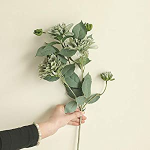 3 Heads Artificial Dahlia with Fake Green Artificial Flowers Silk Fake Hydrangea Flowers Bunch Bridal Lifelike Wedding Bouquet for Home Garden Party Wedding Decoration