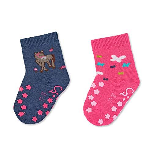 Sterntaler Mädchen ABS-Krabbelsöckchen, Pferd-Motiv, Doppelpack, Alter: 12-18 Monate, Größe: 19/20, Blau/Pink