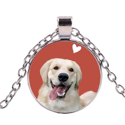 Love Dog Golden Retriever Collana in vetro Cabochon Ciondolo Lunga Catena Girocollo Trendy Animali Gioielli per Uomo Donna