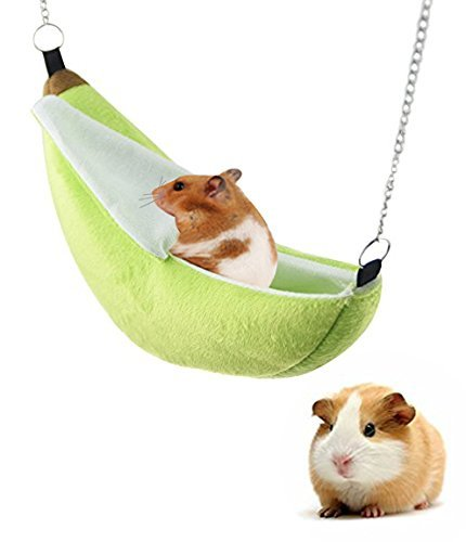 Aolvo - Hamaca tipo banana, para casa, escondite o cama para hámster enanecedor, jaula grande, accesorios de casa, puente oscilante, juguetes para colgar en la cama, para pequeños animales de raza, como cobaya, jarra de azúcar, hámster