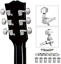 Guitar Tuning Pegs, Tuners Machine, 18:1 3L3R, Tuner Keys Heads, Closed Chrome for Guitars Luthier DIY Repair (Shape A)