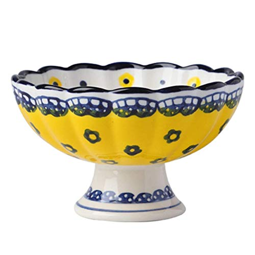 Tazón de ensalada pintada a mano,Tazón de porcelana de grano alto con pies,Cuenco de arroz de cocina Ensalada Helado Bowl Yogurt Bowl