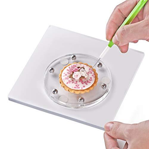 Kasmoire Drehteller zum Dekorieren von Plätzchen, mit rutschfester Silikonmatte, dreht sich reibungslos, einfache Kontrolle und praktisch, 14,5 x 14,5 cm, dicker, Acryl, quadratisch