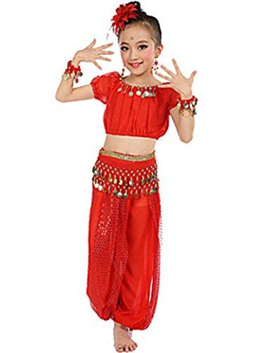 YUyinrl Danza del Ventre Completi per Donna per Bambini da esibizione Chiffon + Satin Poliester Monetine Dorate 6 Pezzi Maniche Corte Naturale, Light Red, l