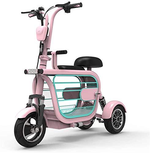 Silla de Ruedas eléctrica Plegable, 3 Ruedas Estilo retro Movilidad Scooter eléctrico,...