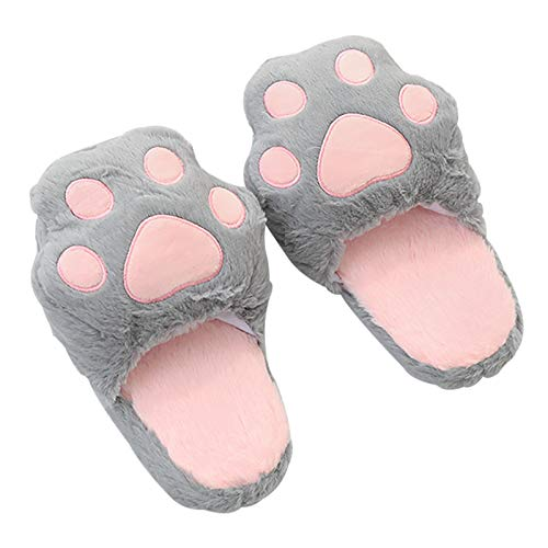 Bias&Belief Pantuflas para Mujer para Interior y Mujer,Antideslizantes,Garra de Gato Zapatillas de Felpa para Casa Interior,Gris