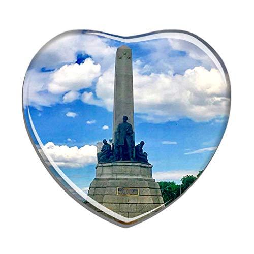 Hqiyaols Souvenir Filippine Rizal Park Manila Frigo Magnete A Forma di Cuore Cristallo Adesivo per Frigorifero Viaggio Regalo Collezione Souvenir