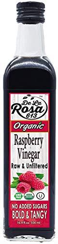 ORGANIC 100% Pure Raspberry Vinegar - De La Rosa 16.9oz - Raw & Unfiltered | Vegan, Gluten-Free, Kosher | Great for salads, dressings, marinades and more!