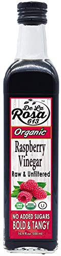 ORGANIC 100% Pure Raspberry Vinegar - De La Rosa 16.9oz - Raw & Unfiltered | Vegan, Gluten-Free, Kosher | Great for salads, dressings, marinades and more!