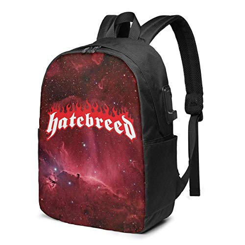 Hatebreed Logo Travel Laptop Backpack Music Business Durable Laptops Backpack with USB Charging Port School Backpack 17 Inch Computer Bag Gifts for Unisex Black