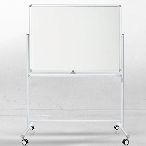 Office Marshal Mobiel whiteboard/dubbelzijdig whiteboard- met aluminium frame, magnetisch 120x180 cm