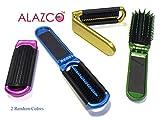 2 ALAZCO Folding Hair Brush With Mirror Compact Pocket Size Travel Car Gym Bag Purse Locker