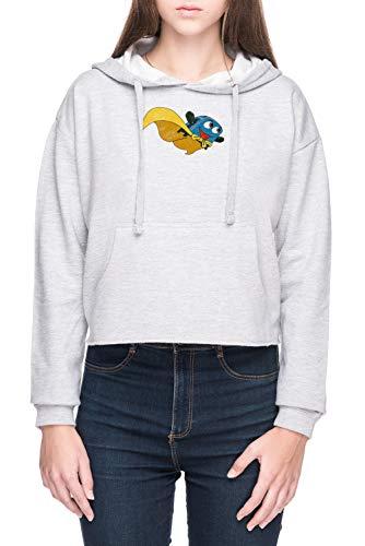 Valiente Pequeño Tostadora - Volar Lejos Mujer Sudadera con Capucha de Crop Gris Women's Crop Hoodie Sweatshirt Grey