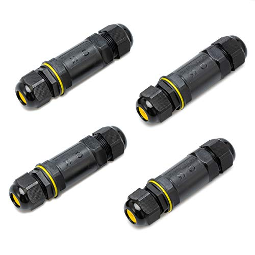 5-Polige Verbindungsmuffe Kabelverbinder Muffe Wasserdicht IP68 Verbindungsbox für Ø1-14 mm Kabeldurchmesser (4 pack)