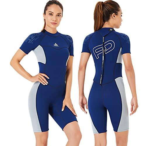 Wenlia Combinaison de plongée shorty pour femme en néoprène 3 mm - Maillot de plongée une pièce à manches courtes avec fermeture éclair dans le dos pour plongée, surf, sports nautiques