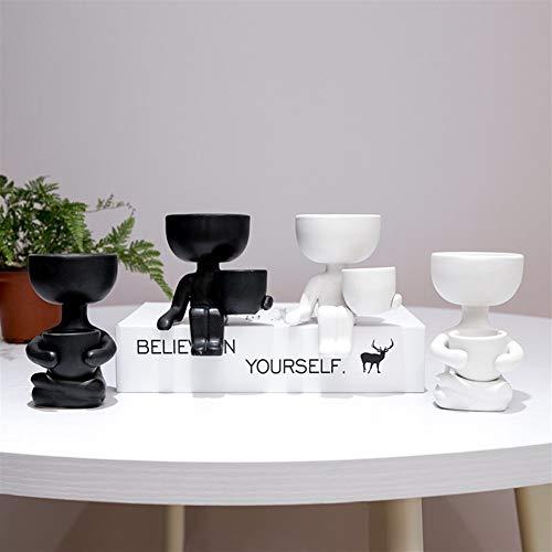 WBFN Humanoid Bloempot Keramiek Set van 4, Creative bloempot aardewerk vaas woondecoratie woondecoratie gepersonaliseerde gift, ademend, niet-vervormbare, sterk en duurzaam