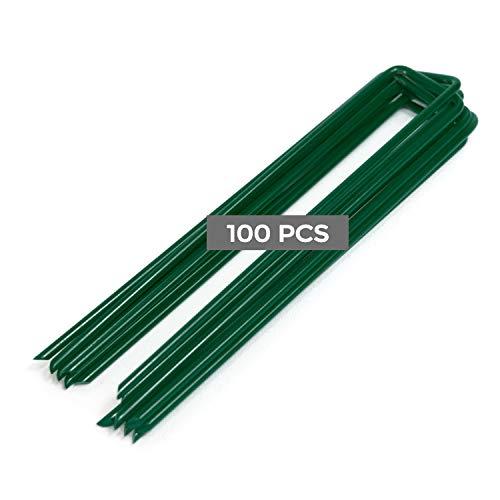 Piquetas verdes de lona para hierba sintética, fabricadas en Italia, galvanizadas, jardín, calidad extra antioxidante, galvanizadas, 150 mm de largo, 25 mm de ancho, 3 mm de diámetro, 100 unidades