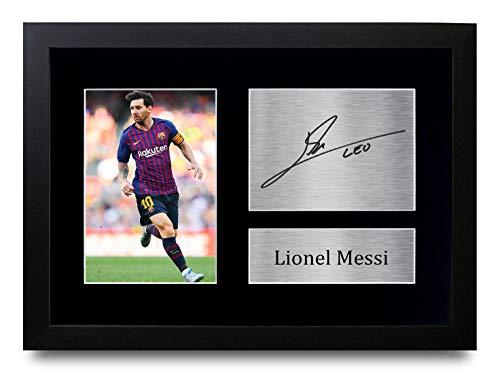 HWC Trading Lionel Messi A4 Gerahmte Signiert Gedruckt Autogramme Bild Druck-Fotoanzeige Geschenk Für Barcelona Fußball Fans