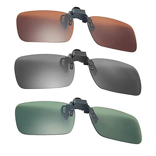 Amosfun 3 stuks clip-on zonnebril, flip-up, gepolariseerde lens voor brillen, uv-bescherming over rx-brillen, clip op glazen tinten