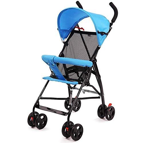 Smmli-Toy Kinderwagen, einfache tragbare Falten Ultra Light Sommer atmungsaktiv zurück Kinderwagen atmungsaktiv zurück + halbe Markise (Farbe: blau)