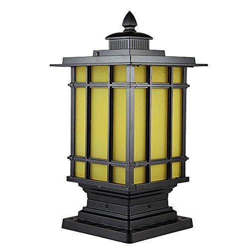 TZZ Lámpara de columna al aire libre Villa Europea resistente al agua de metal óxido columna de aluminio lámpara de iluminación al aire libre de lujo jardín retro valla de césped al aire libre lámpara