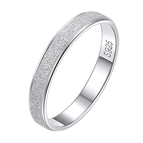925 Sterlings Silver Skinny Stacking Rings for Women Girls, 3mm Simple Stardust Wedding Band Ring, Minimalist Thin Dainty Rings Size 12