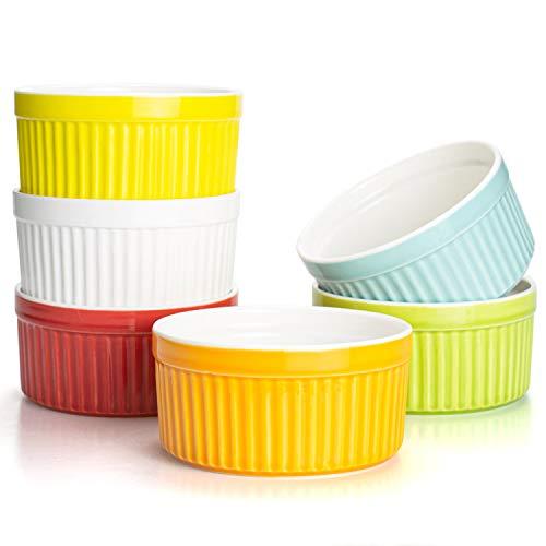 Foraineam Juego de 6 platos de porcelana de 8 onzas, apto para horno y utensilios de cocina, juego de utensilios para hornear postre y crema