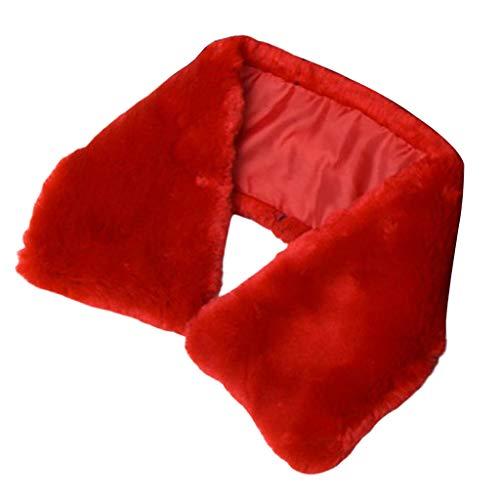 P Prettyia Cuello de Piel Sintética Corbata con Botón Collar Falso Desmontable Bufanda para Abrigo de Piel, Suéter, Vestido - rojo, 54x10cm