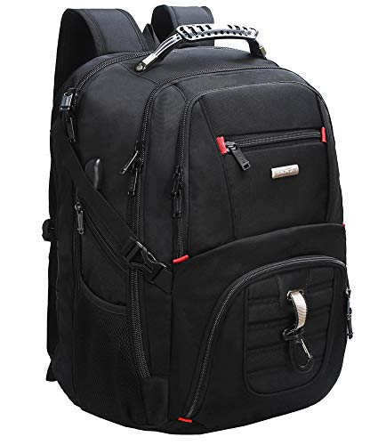 50L Large Travel Laptop Backpack with USB Charging Port TSA Durable College School Computer Bookbag Fits Up to 19 inch Laptop
