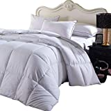 Soft and Fluffy, Overfilled Dobby Down Alternative Comforter, King / California-King Size, Checkered White, 100% Cotton Shell 300 TC - 100 OZ Fill - Duvet Insert