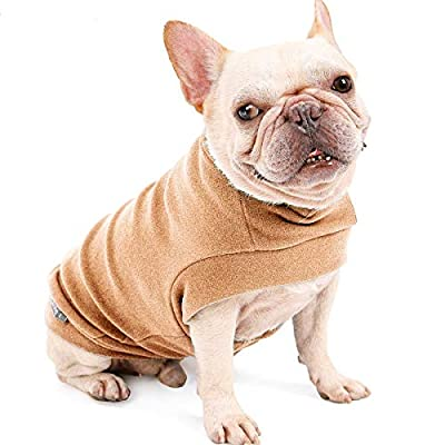 """AIWOKE Pet Dog Puppy Clothing Cat Winter Windbreaker Jacket -Soft & Warm Knitwear Sweater Fleece Dog Coats for Small Medium Dogs and Cats Pullover Shirt (L,Chest Girth 21"""", Brown)"""