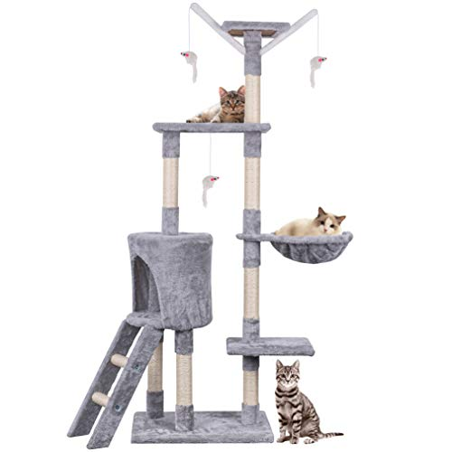 HOMIDEC Cat Tree, 145cm Cat Scratch Posts Multi-Level Stable Cat Climbing Tower Cat Activity Trees with Ladder, Indoor Pet Activity Furniture Play House for Kitty Kitten