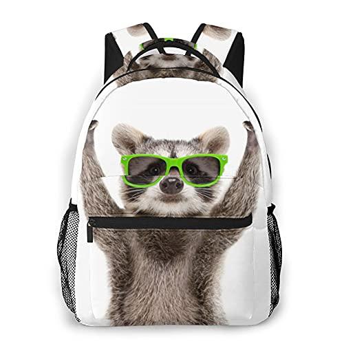 Divertido mapache verde gafas de sol impresión mochila de impresión portátil impermeable antirrobo casual mochila bolsa USB puerto de carga mochila unisex