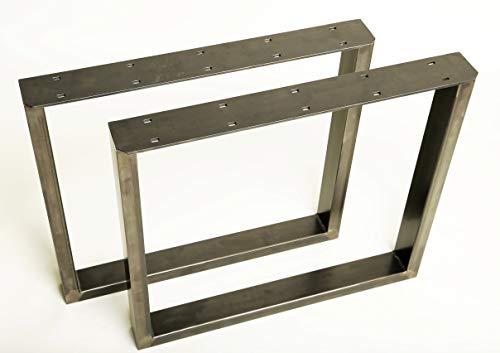 1 Paar (2 Stück) BestLoft Kufen – Tischkufen im Industriedesign aus Rohstahl (100x72cm, Transparent Pulverbeschichtet)