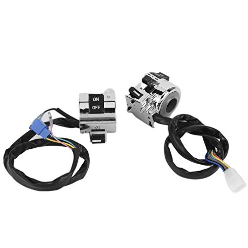 Interruptor de bocina, botón de control del manillar, motocicletas cromadas multifunción resistentes al desgaste para scooters eléctricos