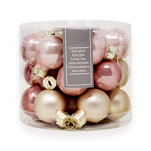 ToCi Mini Weihnachtskugeln aus Glas in Rose und Gold kleine Christbaumkugeln 24er Set