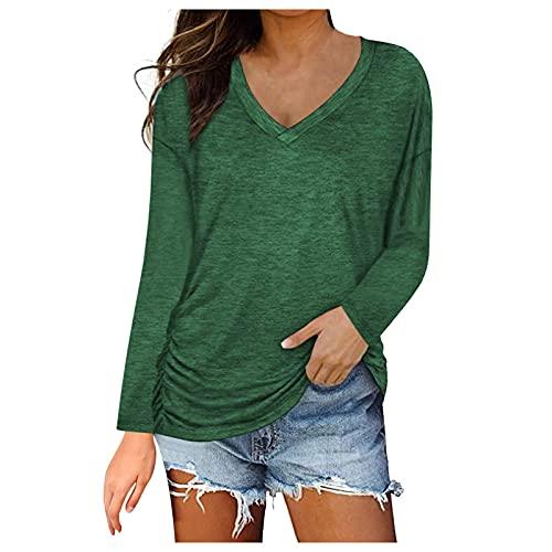 L9WEI Damen Sweatshirt Plus Size V-Ausschnitt Langarm Casual Bluse Outwear Frauen Elegant Pullover Herbst Winter Tops