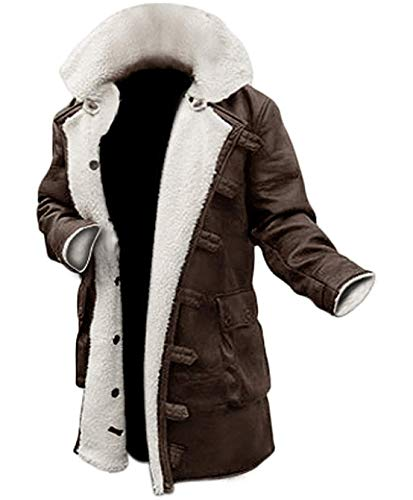 Mens Shearling Coat Brown Leather Swedish Bomber Jacket (XXL, BROWN)