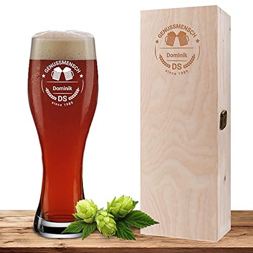 Weizenglas mit Wunschmotiv und Geschenkbox, Bierglas 0,5l, inkl. gravierter Holzbox, individuelles Geschenk, personalisiertes Weißbierglas, Motiv Genussmensch