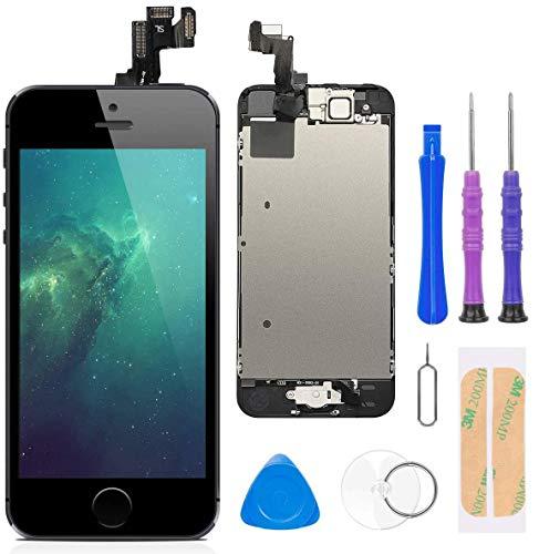 FLYLINKTECH Display per iPhone 5S/SE Nero Schermo Vetro 4,0' LCD Touch Screen Digitizer Parti di Ricambio(con Home Pulsante, Fotocamera, Sensore Flex)