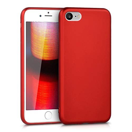 kwmobile Funda Compatible con Apple iPhone 7/8 / SE (2020) - Carcasa móvil de Silicona - Protector Trasero en Rojo Oscuro Metalizado