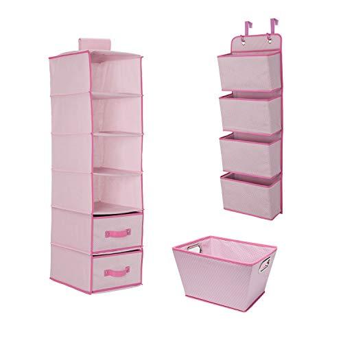 Delta Children Complete Nursery Organization 3-Piece Set, Barely Pink