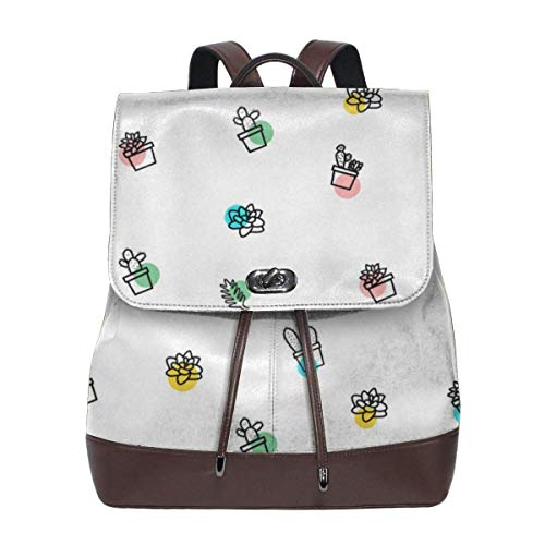 Zaino scuola,Women's Leather Backpack Succulent And Cactus Fashion Shoulder SchoolBag PU Travel Bag