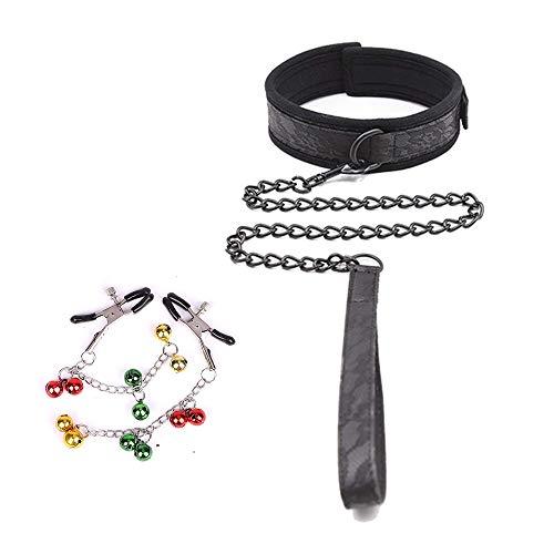 Collier ras de cou en nylon avec longue chaîne détachable, avec une paire de pinces