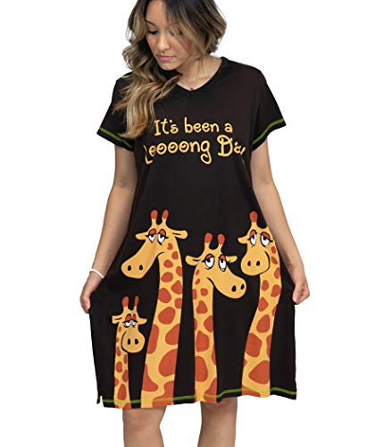 Lazy One V-Neck Nightshirts for Women, Animal Designs, Giraffe, Tired, Exhausted (Long Day, L/XL)