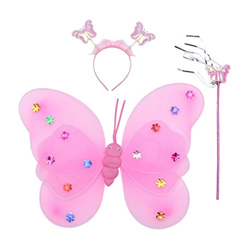 Kisangel 3 Piezas de Hada Rosa Vestido de Princesa Alas Diadema de Mariposa Traje de Fiesta Suministros para Carnaval Cosplay Fiesta Favores