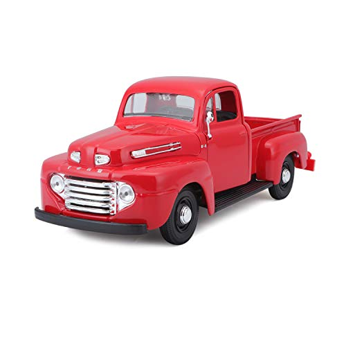 Maisto 1:25 Scale 1948 Ford F-1 Pickup Diecast Truck Vehicle, Colors May Vary [Red/Grey]